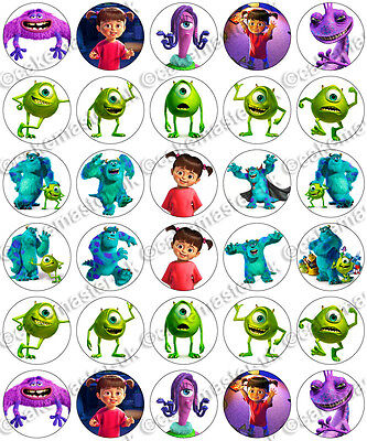 30 X Monsters Inc Party Edible Rice Wafer Paper Cupcake Toppers • 1.49£