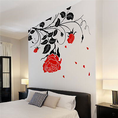 £6.49 • Buy Large Flower Roses Wall Stickers Wall Decals Wall Graphics Vines Leafs Rose