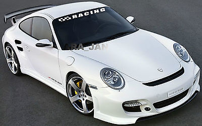 RACING Windshield Flag Decal Stickers Sport Car Sticker WHITE • 29.96$