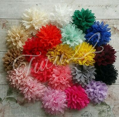 Crochet Tulle Fabric Flower Embellishment Ideal For Tutus/bridal/craft UK SELLER • 1.40£
