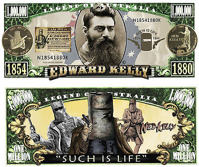 AU4.95 • Buy RARE: NED KELLY $1,000,000 Novelty Note, Outlaw, Man Cave. Buy 5 Get One FREE