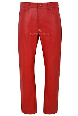 £100 • Buy Men's Real Leather Trouser Red Hide Biker Motorcycle Classic Jeans Style 501