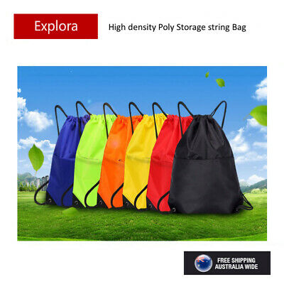 AU6.99 • Buy PE String Bags Drawstring Backpack Storage Tote Buggy Bag Sport Pack