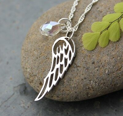 Angel Wing Necklace- Sterling Silver Rope Chain  & Birthstone Crystal Teardrop  • 40.52£