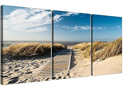Large Beach Canvas Art Set Of Three For Your Bathroom • 44.39£