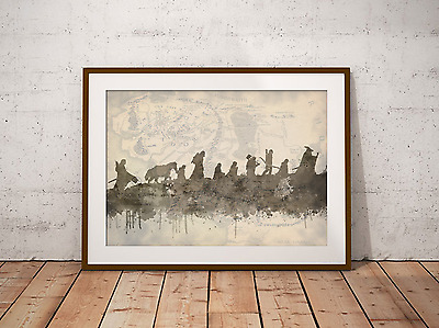 £19.99 • Buy LORD OF THE RINGS The Fellowship Film Print Artwork Framed Middle Earth Map