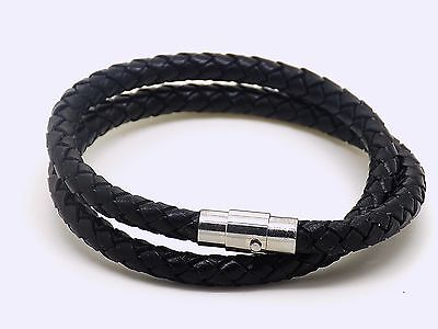 Mens Real Leather Wrap Around Wristband Bracelet Stainless Steel Clasp • 4.50£