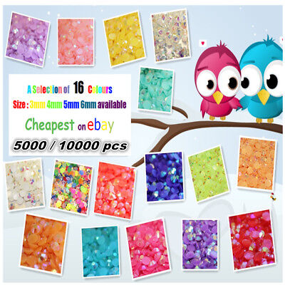 Jelly Ab Colours Resin Flat Back Rhinestones Diamante Nail Art Gems 5000 / 10000 • 4£