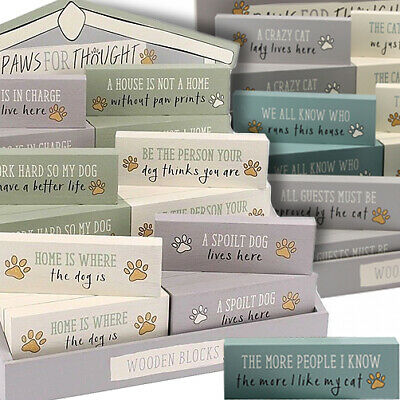 £4.90 • Buy PAWS FOR THOUGHT WOODEN BLOCK Cat Dog Word Plaque Sign Stand Home Christmas Gift