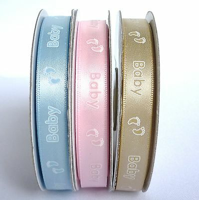 £2.83 • Buy Satin 12mm Ribbon With Printed Baby Feet Design - 3 Colours (1 Qty = 5 Metres)