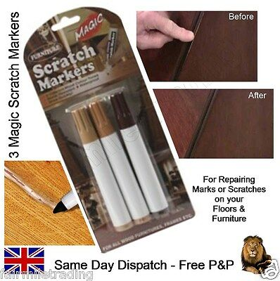 Furniture Scratch Marker 3 Shades Touch Up Pen Laminate Wood Floor Marks Repair • 2.69£