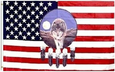 $7.55 • Buy 3x5 USA Wolf Dreamcatcher Indian Feathers Flag 3'x5' House Banner Fade Resistant