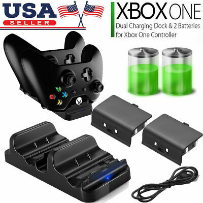 XBOX ONE Dual Charging Dock Station Controller Charger + 2 Rechargeable Battery • 10.99$