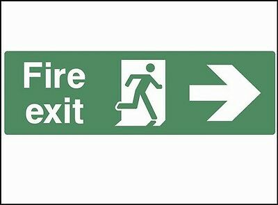 Fire Exit (right), Emergency Escape Signs For All Directions, Rigid PVC, Sticker • 11.29£