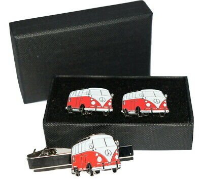 £13.99 • Buy Red Camper Van Cufflinks & Tie Clip Set Gift Boxed Enamel Mens Accessory Wedding