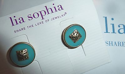 $ CDN20.75 • Buy Nwt - Lia Sophia  Capri  Stud Earrings - Turquoise/goldtone