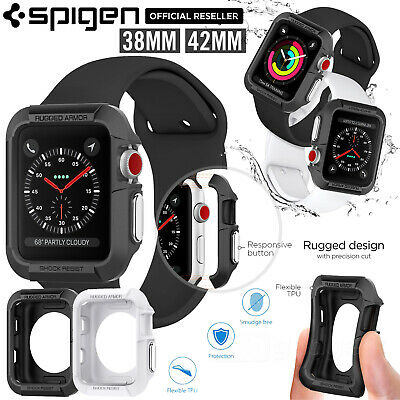 AU17.99 • Buy For Apple Watch IWatch Series 3 2 1 38/42mm Case SPIGEN Rugged Armor Soft Cover