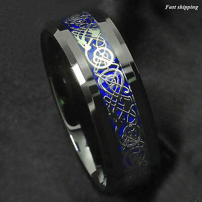 $13.89 • Buy 8Mm Blue Black Silvering Celtic Dragon Tungsten Carbide Ring ATOP Men's Jewelry