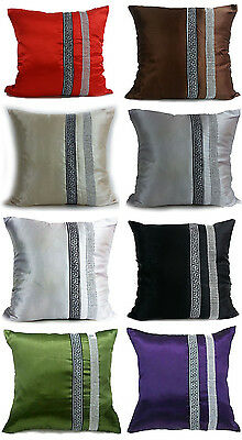 Large Satin Diamante Lace Cushions Or Covers 17X17 Or21 X21  7 Colors • 6.95£