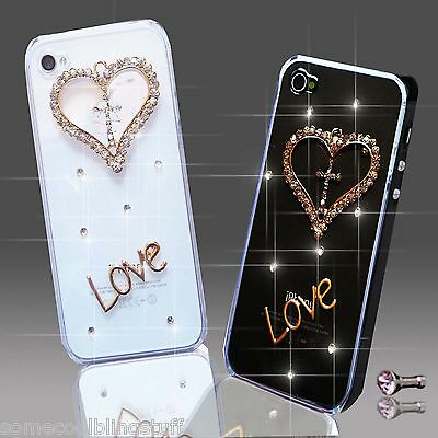 NEW 3D DELUX COOL BLING DIAMANTE LOVE HEART CASE VARIOUS MOBILE PHONES IPHONE  • 5.99£
