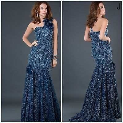 £286.85 • Buy New. Jovani. One. Shoulder Beaded Navy Lace Pagent Runway Marmaid Us8msrp$1128