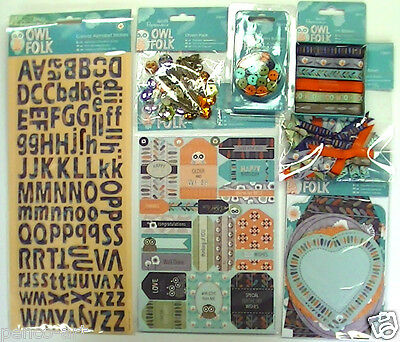 £2.39 • Buy Papermania Owl Folk Embellishments Stickers Notelets Buttons Ribbon Bows Charms