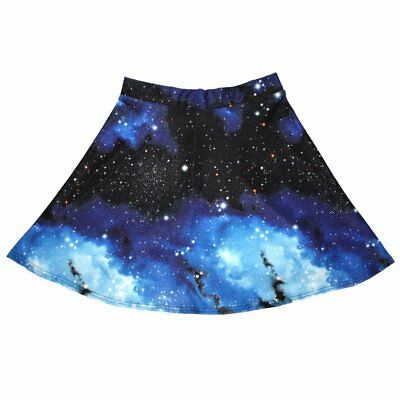 £17.99 • Buy Ladies Blue Galaxy Planets Cosmos & Space Print Flared Skirt Size 8-22