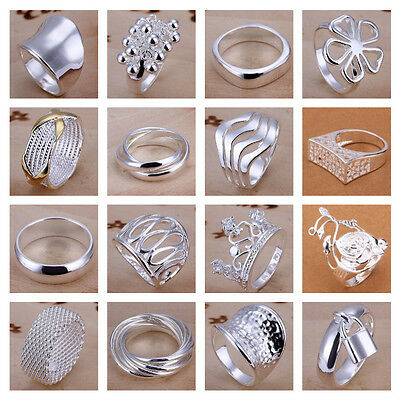 *UK* Silver Plated P 1/2 8 Band Rings Mens Ladies Statement Thumb Womens Gift • 4.99£