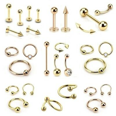 Gold Plated Labret Tragus Cartilage Lip Bar Horseshoe CBR Piercing Ear Ring Rose • 3.25£