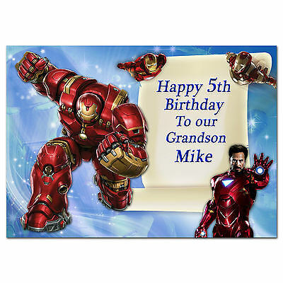 678; Special Personalised Birthday Card; Super Hero, Iron Man, Avengers; Any Age • 3.75£