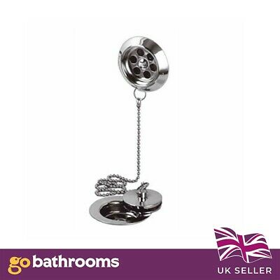 Chrome Retainer Bath Tub Waste Drain With Brass Plug & Overflow And Ball Chain • 14.99£