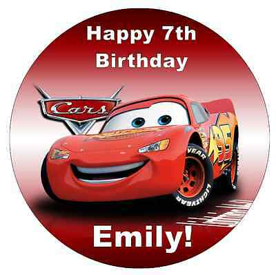 Cars Lightning Mcqueen Disney  Personalised Cake Topper 7.5  Edible Wafer Paper • 2.25£