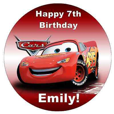 Cars Lightning Mcqueen Disney  Personalised Cake Topper 7.5  Edible Wafer Paper • 1.90£
