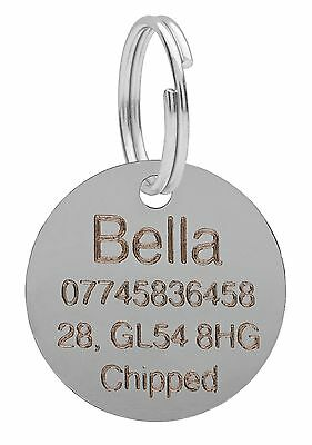 Dog Cat Pet Tag ID Tags Personalised Engraved Silver 25mm Round Puppy Collar • 2.29£