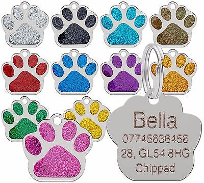 Dog Cat Pet Tag ID Collar Tags Personalised Engraved 27mm Glitter Paw Print  • 2.99£
