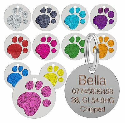 Dog Cat Pet Tag Personalised Engraved Collar ID Tags 25mm Glitter Paw Print  • 2.75£