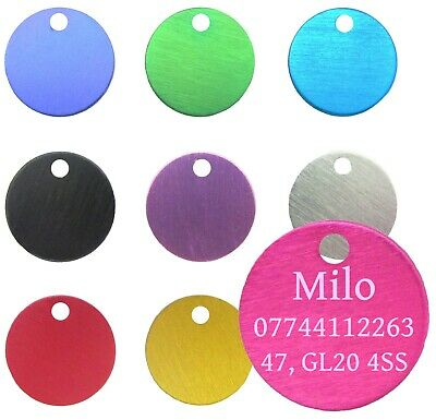 Dog Cat Pet Tag ID Tags Personalised Engraved 22mm Anodised Design Pet Collar  • 2.29£