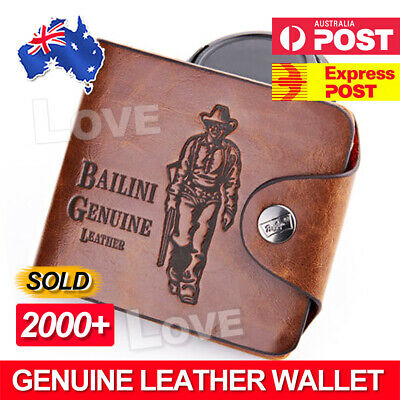 AU13.95 • Buy OZ Genuine Leather Cowhide Mens Wallet Brown Business Credit Card Holder Stylish