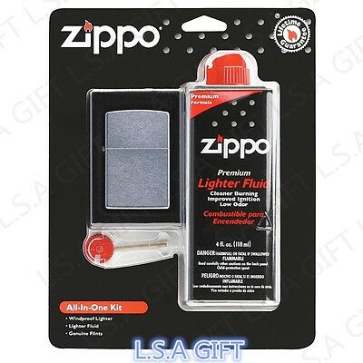 $16.70 • Buy Zippo All In One Gift Set 1x Street Chrome Lighter & 1x Fluid & 6x Flints 24651