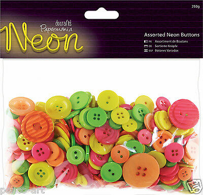 £2.75 • Buy Papermania Bright Colours NEON Shades Button Bag Assorted Buttons 250 Grm