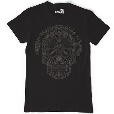 Skull & Phones DJ Tee - Mexican Sugar Candy Skull Headphones Day Of Dead  • 25£