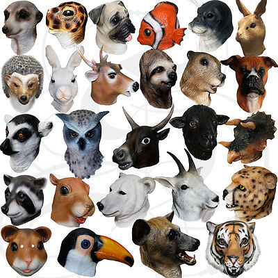 Latex Animal Head Cosplay Masquerade Fancy Dress Up Carnival Props Party Mask • 17.99£
