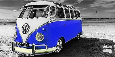 £20 • Buy VW Camper Van Blue Canvas Stretched Wall Art Poster Print Surfing Campervan