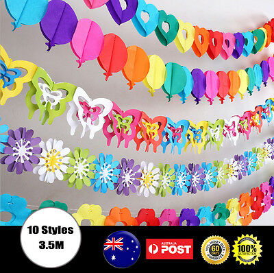 AU3.99 • Buy Rainbow Colours Hanging Paper Chain Flower Wedding Birthday Party Decoration Pom