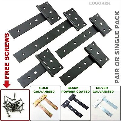 £6.03 • Buy Tee Hinges Straight Galvanized Heavy Duty T Strap Hinges Door Gate Shed Barn STR