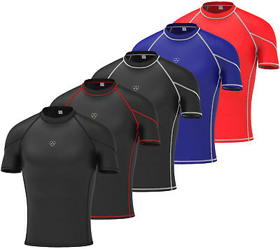 Mens Compression Armour Base Layer Top Half Sleeve Thermal Gym Sports Shirt • 9.75£
