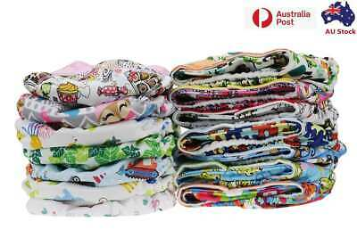 AU11.99 • Buy 10 X Reusable Modern Cloth Nappies & Inserts All Size Diapers Print Bulk Sales