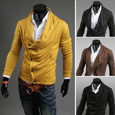 $18.39 • Buy Mens Sweaters Shirts Long Sleeve Casual Slim Fit Knit Buttons Multicolor ST164