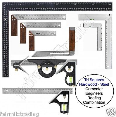 Metal Hardwood Tri Square Try Set Adjust Angle Slide Ruler Frame Combination  • 6.99£