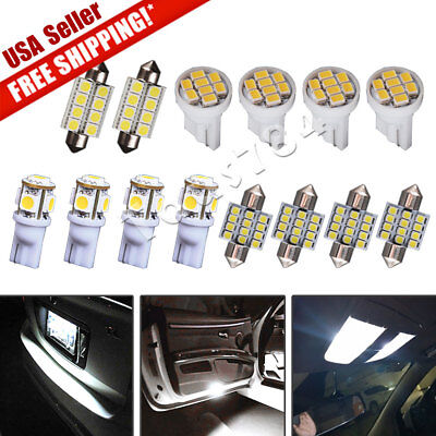 $6.15 • Buy 14X White LED Interior Package Kit Deal For T10 194 & 31mm Map Dome Lights Bulb